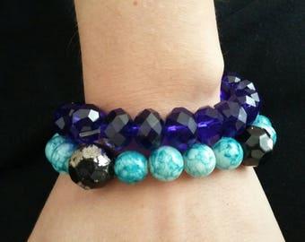 2 blue Glass bracelets