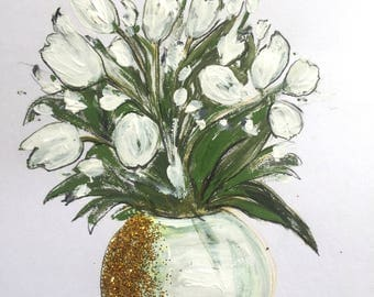 """Tulips Floral Painting A4 Size Flowers Art For Sale Buy Art Beautiful Gift Ideas Still Life UK Art Acrylic Painting Original 8""""x10"""""""