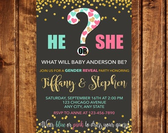Gender Reveal Invitation, He or She what will baby be, Baby Gender Reveal Invitation, Baby Reveal, He or she Gender Reveal, Questionmark