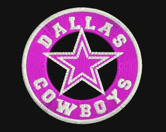 Dallas Cowboys Round Tag Icon  with Football Machine Embroidery Design - Instant Download Filled Stitches Design 369A