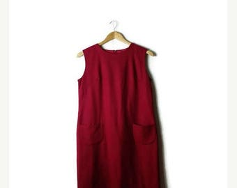 ON SALE Vintage Red Wool Sleeveless Dress/Jumper from 1980's*