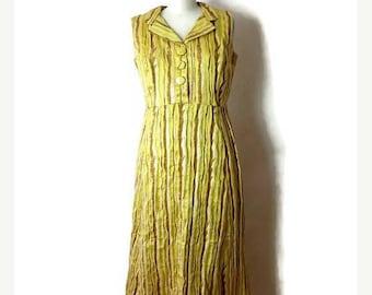 ON SALE Vintage Metallic Yellow/Silver Stripe Sleeveless Long Dress from 1970's*