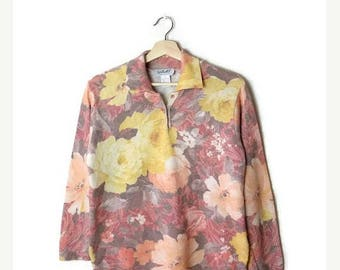 Clearance SALE 40% off Vintage Colorful Faded  Floral Printed Long Sleeve Collared  Light Sweater from 1980's*