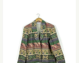 ON SALE Vintage  Southwestern Tribal/Navajo Inspired Cotton Blazer Jacket from 1980s*
