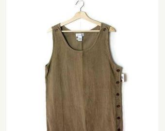 ON SALE Vintage Plain Beige Corduroy Jumper/ Dress from 90's*