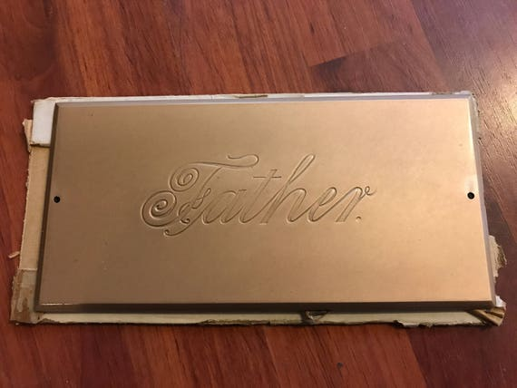 Vintage Father Coffin Plaque
