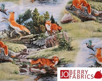 Reserve Listing for JULIETTE for 1.5 Yards of Red Fox Fabric, North American Wildlife by Al Agnew for Elizabeth Studio.