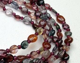Spinel around the garnet multi-strand necklace