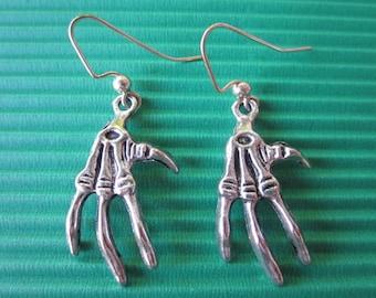 Silver Medium Tibetan Skeleton Hand Earrings-Halloween / Dia De Los Muertos/ Earrings