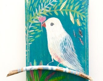 Bird on a branch, illustration on wood, mixed media painting, turquoise wall decoration