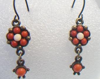 Red Orange Floral Dangle Earrings Beaded Flower Jewelry Boho