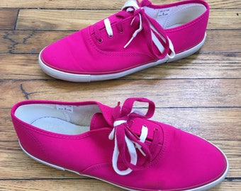 1990s Adrienne Vittadini Bright Pink Tennis Shoes, Size 8