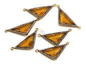 Citrine Connector, Gold Plated Bails, Cubic Zircon Pave Diamonds, Jewelry Making Supplies, Gemstone Connector GemMartUSA (GPCT-50066)