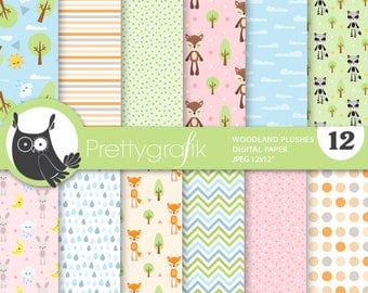 80% OFF SALE Woodland plushies digital papers, commercial use, animals scrapbook papers, background, fox - PS863