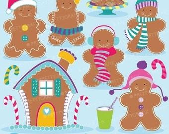 80% OFF SALE 80 Percent 0FF Sale Gingerbread man clipart commercial use, vector graphics, digital clip art, digital images  - Cl597