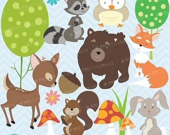 80% OFF SALE woodland animals clipart commercial use, vector graphics, digital clip art, digital images - CL576
