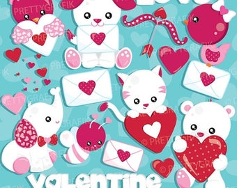 80% OFF SALE Valentine Animals clipart commercial use, Valentine clipart, vector graphics, digital clip art, digital images  - CL939