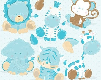 80% OFF SALE Baby Safari Animals clipart commercial use, blue baby animals vector graphics, digital clip art, digital images - CL712