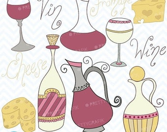 80% OFF SALE Wine and cheese clipart, commercial use, vector graphics, digital clip art, digital images - CL366
