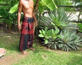 Cotton pelikat / boho / travellers / fisherman pants in black and red design