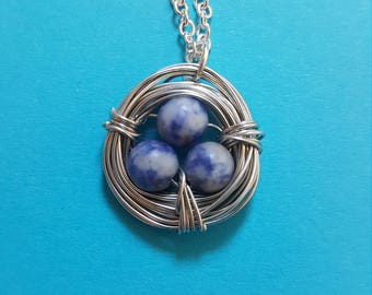 Blue White Bird Nest Silver Wire Wrapped Necklace Chain