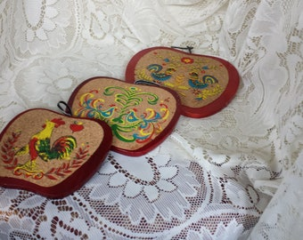 Vintage Wood and Cork Trivet Set Roosters and Apples