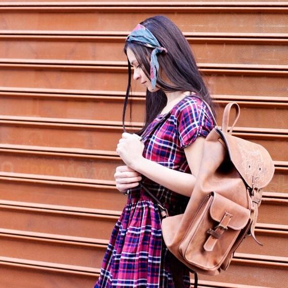 Leather Emroidred Backpack,Full Grain leather Back Pack, Owl Eboidred Leather Backpack, Travel Bag, Overnight Bag, School Bag
