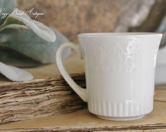 Antique White Ironstone Demi Cup Farmhouse Decor Fixer Upper Decor ROYAL CHINA