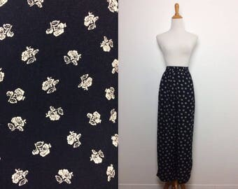 Vintage Black and White Flower Wide Leg Pants/ Xsmall Small