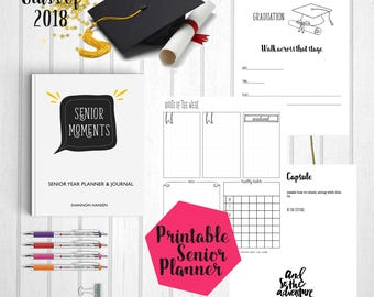 Student Planner | Senior Year Planner | Class of 2018  | Senior 2018 | Bullet Journal Style Planner | Planner 2017-2018