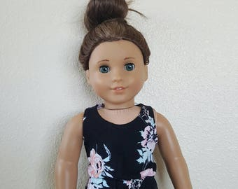 Romper for 18 inch dolls by The Glam Doll - Black, pink, and aqua floral