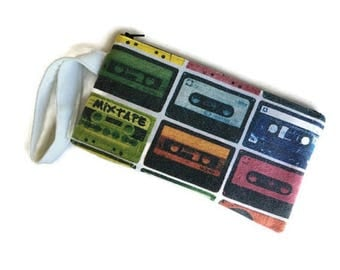 Mix Tape Clutch • Upcycled Tshirt Bag • Cassette Tape Handbag • Cassette Bag • Cassette Gift •