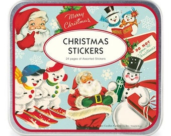 Vintage Christmas Stickers | Christmas Stickers Tin | Cavallini | Vintage Snowman Stickers | Vintage Santa Stickers | Christmas Labels