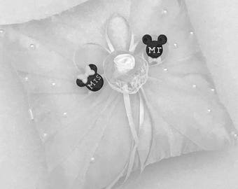 Mickey and Minnie Mouse Wedding Ring Pillow Party Supplies & Disney ring | Etsy pillowsntoast.com