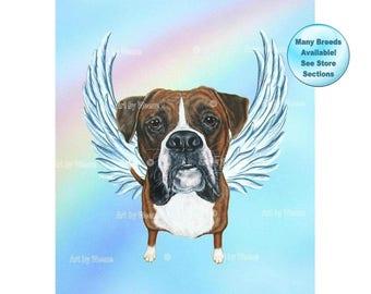 Boxer - Boxer Angel - Boxer Art - Dog Angel - Boxers - Pet Loss Gift - Pet Memorial - Boxer Memorial - Boxer Dog - Rainbow Bridge