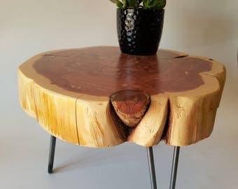 Plant Stand, Log, Side Table, Step Stool, Reclaimed Wood, Round, Organic, Natural Wood, Stool, Metal Legs, Live Edge, Rustic, Mid Century