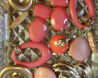 Vintage Coral and Gold Mix Baubles Jewelry Destash Inspiration Upcycle Mix Lot