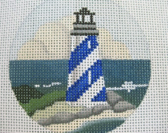Lighthouse Needlepoint Handpainted Canvas 1996 - 18 mesh