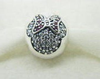 Pandora Sterling Silver Minnie Pave Clip Charm with CZ