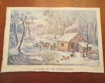 """1870 CURRIER & IVES PRINT """"A Home In The Wilderness"""" Conn 2861"""