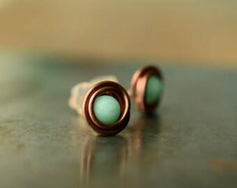 mint earrings, jade stud earrings, bridal shower gift, copper wire earrings, mint green bohemian jewelry, gift for mom, wirewrapped jewelry