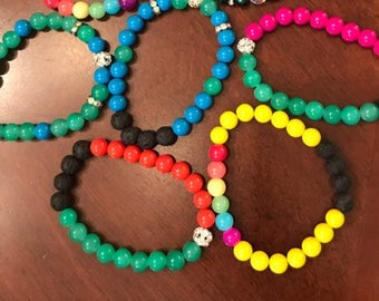 Handmade Diffuser Bracelet. Neon Colors! Free Sample of Essential Oil!