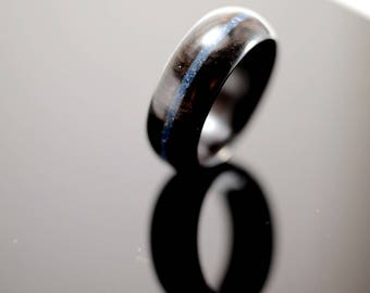 Blackwood and lapis lazuli wooden ring