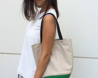 Unique tote bag / shoulder tote bag / large tote handbag / 2 tone tote / vegan tote bag / non leather tote / beige & green pvc / MeDusa bag