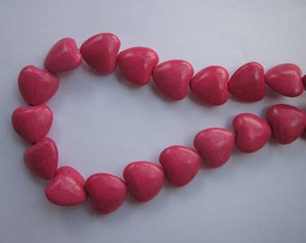 4 heart shaped howlite color pink 16mm (14) beads-