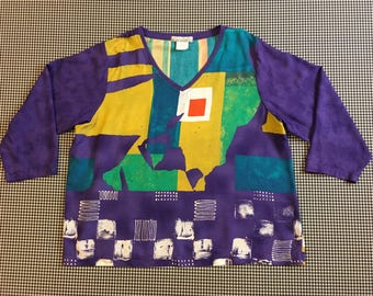 1990's, V-neck, rayon, top, in colorful, abstract print, Women's size Large