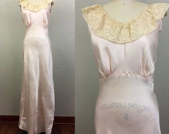 Vintage 30s 40s WEISMAN Pink Rayon Satin n Lace Bias Cut Slip Nightgown Lingerie S/M