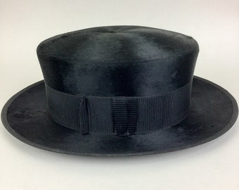 Vintage 20s 30s CROFUT & KNAPP Co. Mens Black Tophat Porkpie Gambler Hat Velvety Fur RARE