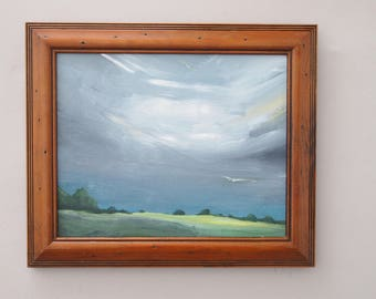 Landscape Painting English Countryside Plein Air Original Artwork Canvas Acrylic Clouds Grey Sky Green Hills Framed