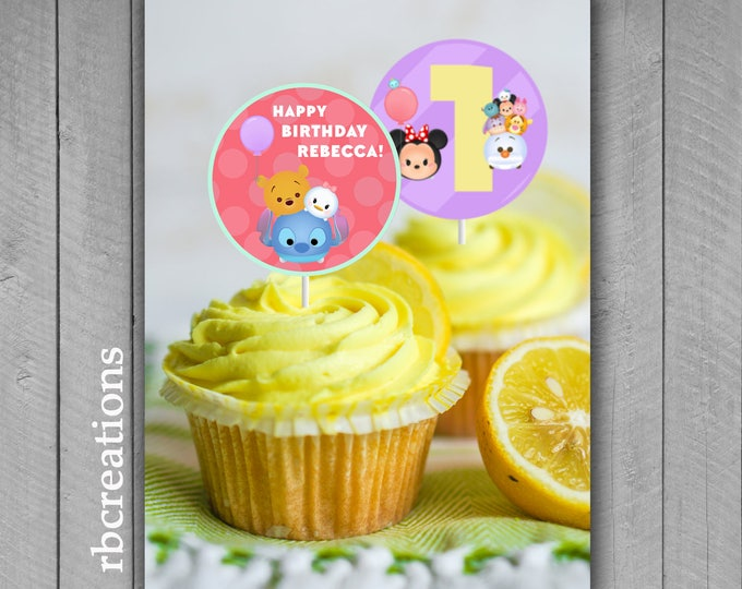PRINTED Tsum Tsum Cupcake Toppers, Tsum Tsum Party, Tsum Tsum Birthday, Tsum Tsum Party Supplies - Printed Party Decorations